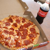 pizza en cola